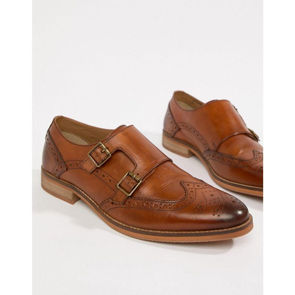 エイソス メンズ シューズ・靴【ASOS DESIGN Monk Shoes In Tan Leather With Natural Sole】Tan