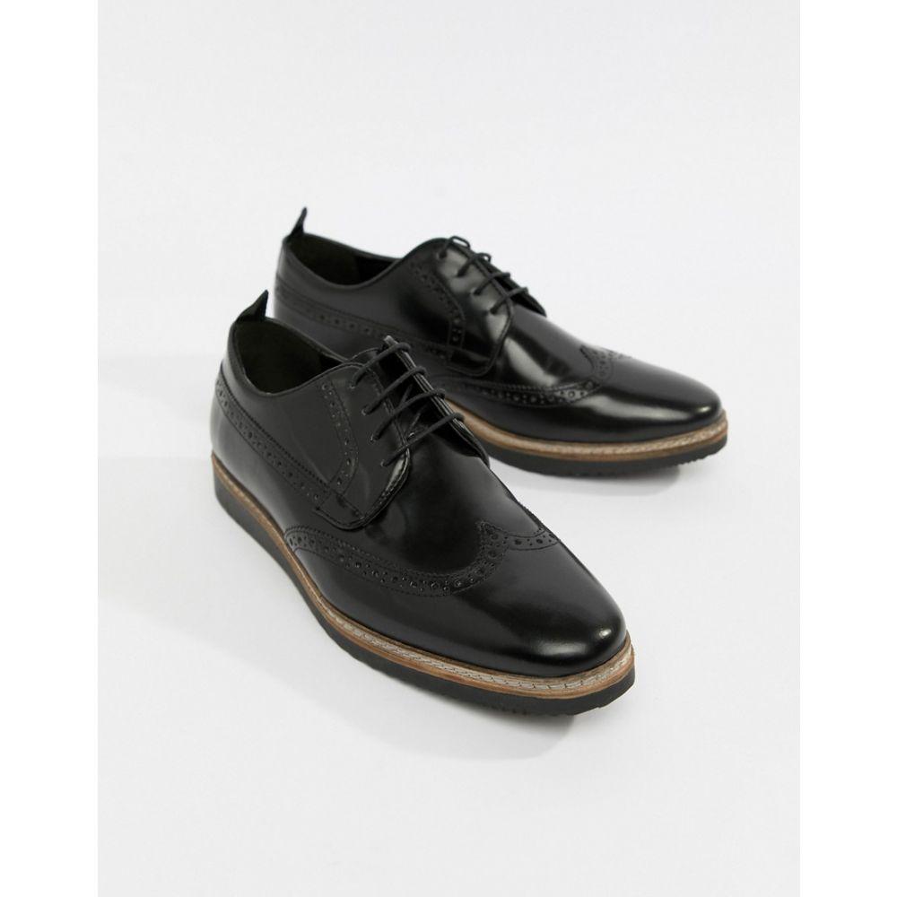 エイソス ASOS DESIGN メンズ シューズ・靴 革靴・ビジネスシューズ【brogue shoes in black leather with wedge sole】Black