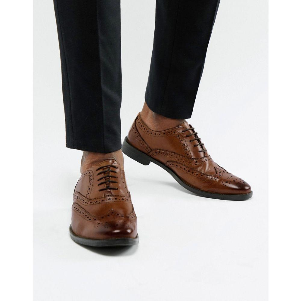 エイソス ASOS DESIGN メンズ シューズ・靴 革靴・ビジネスシューズ【oxford brogue shoes in tan leather】Tan