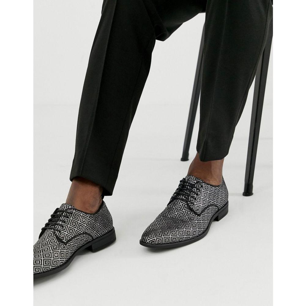 エイソス ASOS DESIGN メンズ シューズ・靴【lace up shoes in black and silver jacquard】Black