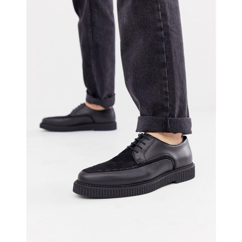 エイソス ASOS DESIGN メンズ シューズ・靴 革靴・ビジネスシューズ【lace up shoes in black leather with creeper sole】Black