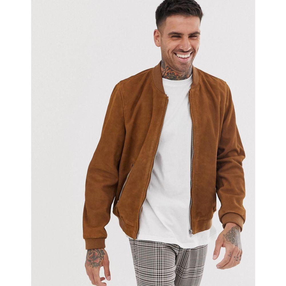 エイソス ASOS DESIGN メンズ アウター ブルゾン【suede bomber jacket in tan】Tan