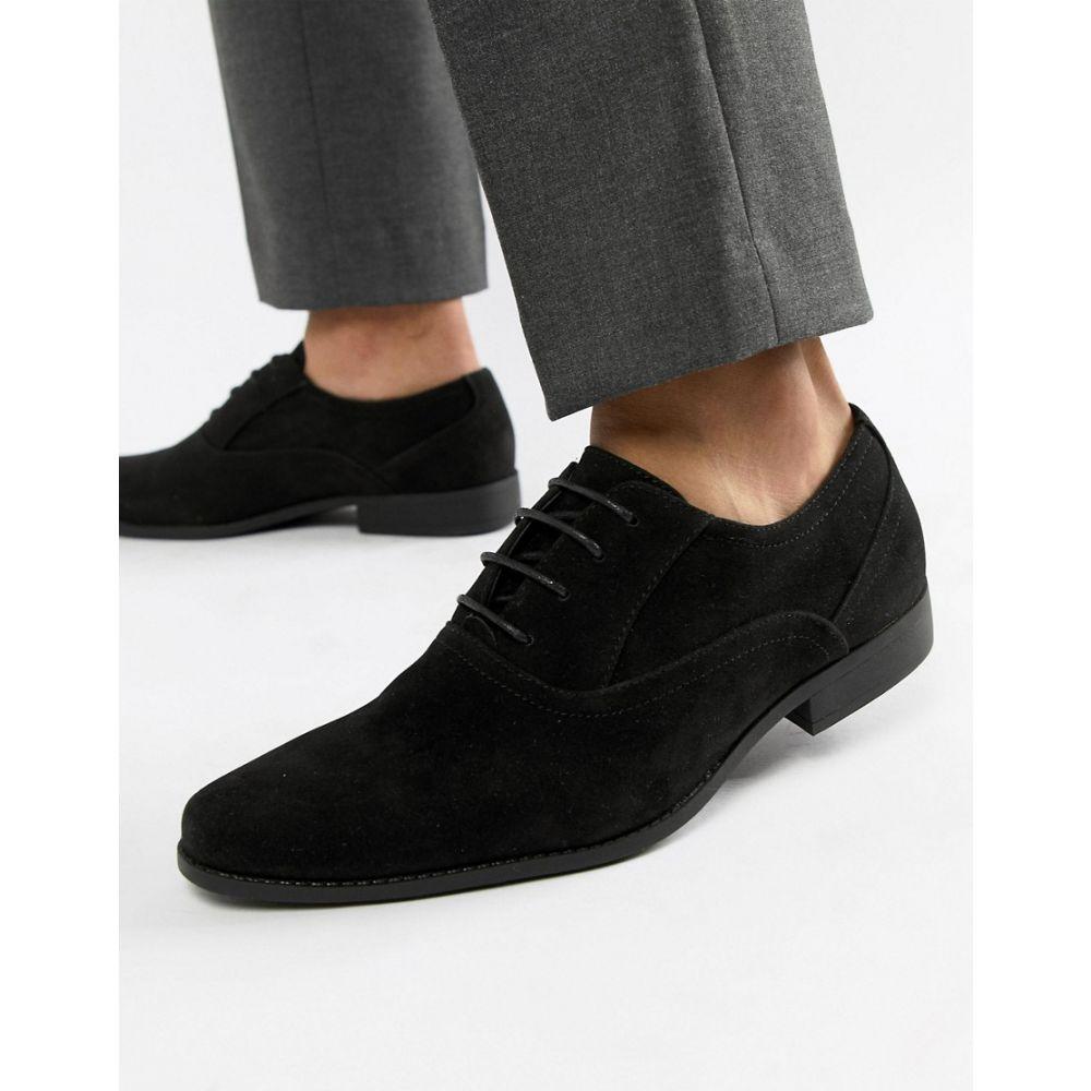 エイソス ASOS DESIGN メンズ シューズ・靴 革靴・ビジネスシューズ【oxford shoes in black faux suede】Black