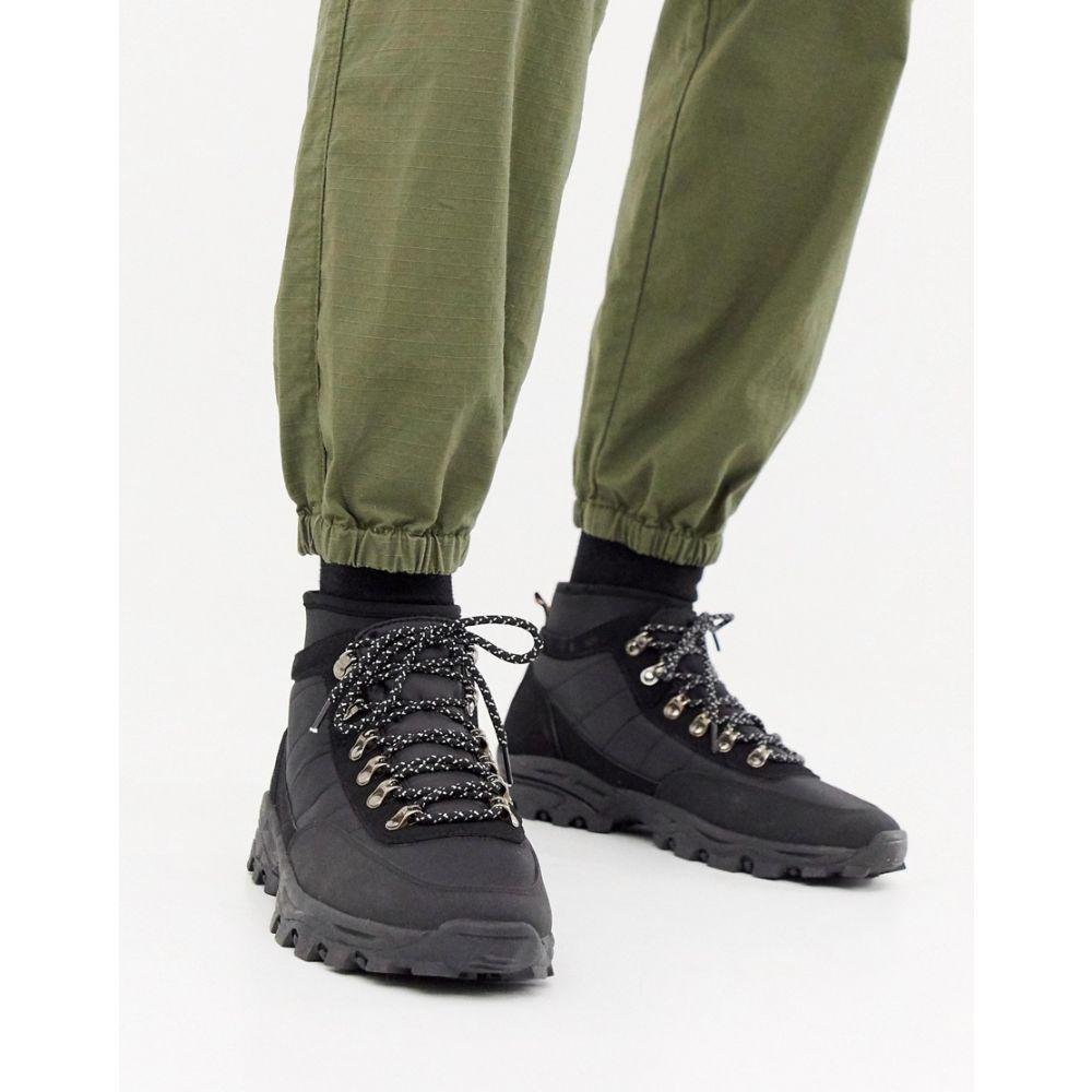 エイソス ASOS DESIGN メンズ ハイキング・登山 シューズ・靴【technical hiker boots in black textile】Black