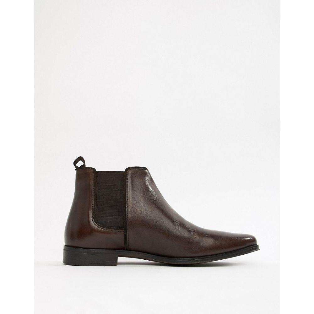 エイソス ASOS DESIGN メンズ シューズ・靴 ブーツ【chelsea boots in brown leather with brown sole】Brown