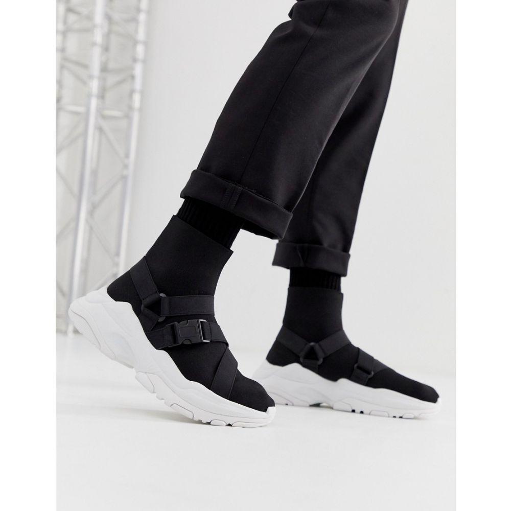 エイソス ASOS DESIGN メンズ シューズ・靴 スニーカー【sock trainers in black with chunky sole and straps】Black