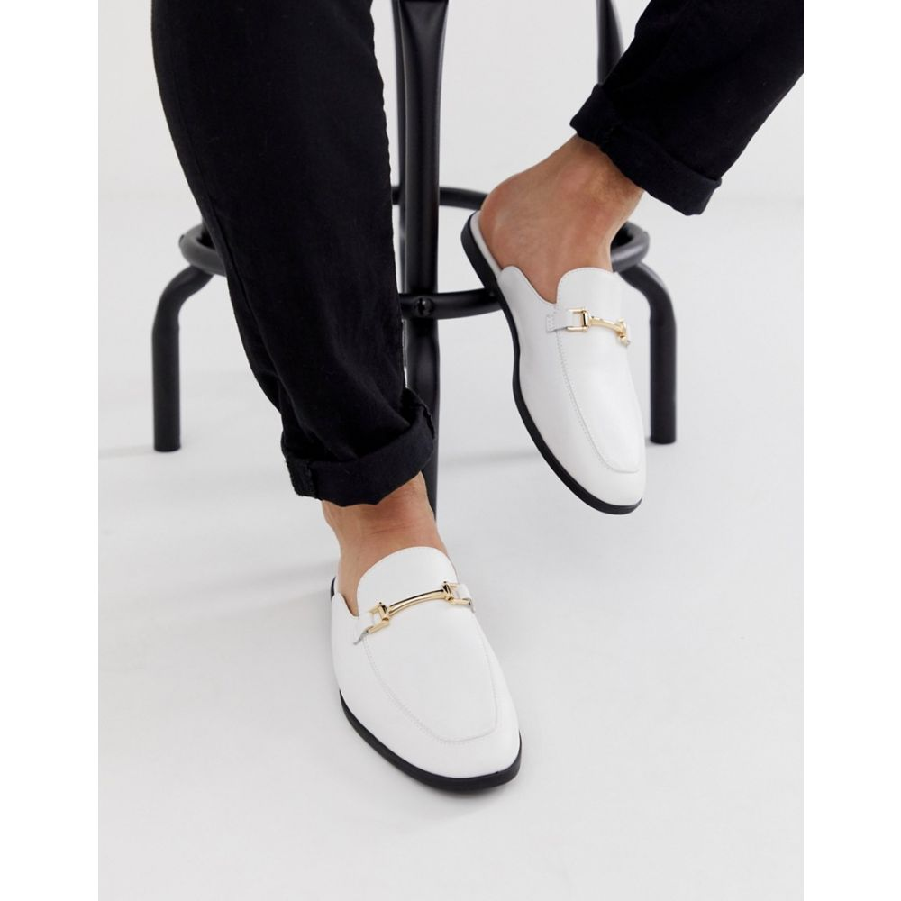 エイソス ASOS DESIGN メンズ シューズ・靴 ローファー【backless mule loafer in white faux leather】White