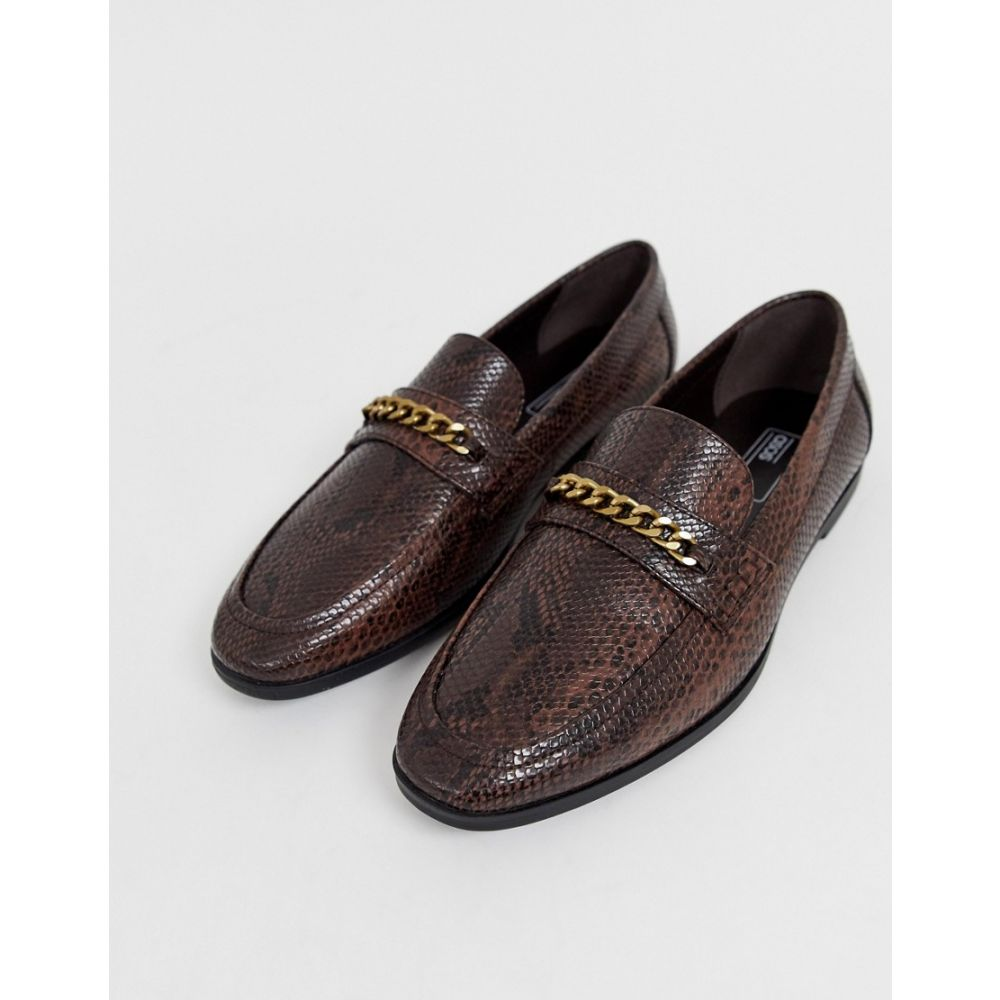 エイソス ASOS DESIGN メンズ シューズ・靴 ローファー【loafers in faux leather with snake effect】Brown
