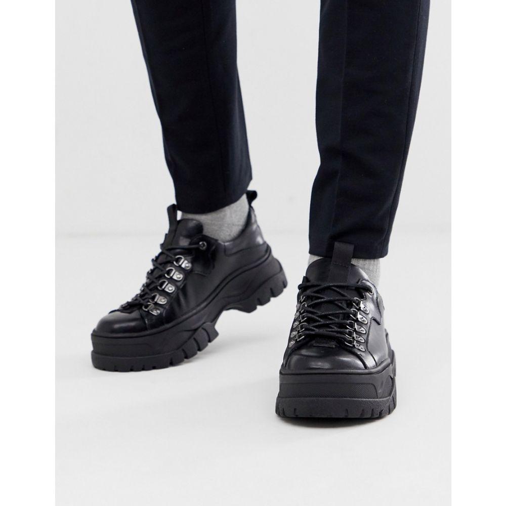 エイソス ASOS DESIGN メンズ シューズ・靴 スニーカー【trainer shoes in black faux leather with chunky sole】Black