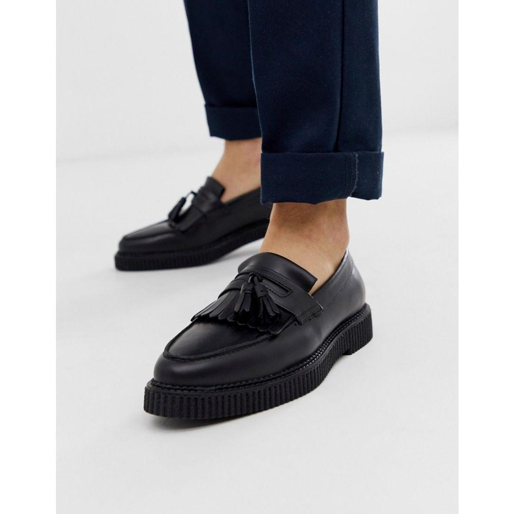 エイソス ASOS DESIGN メンズ シューズ・靴 ローファー【loafers in black leather with creeper sole】Black