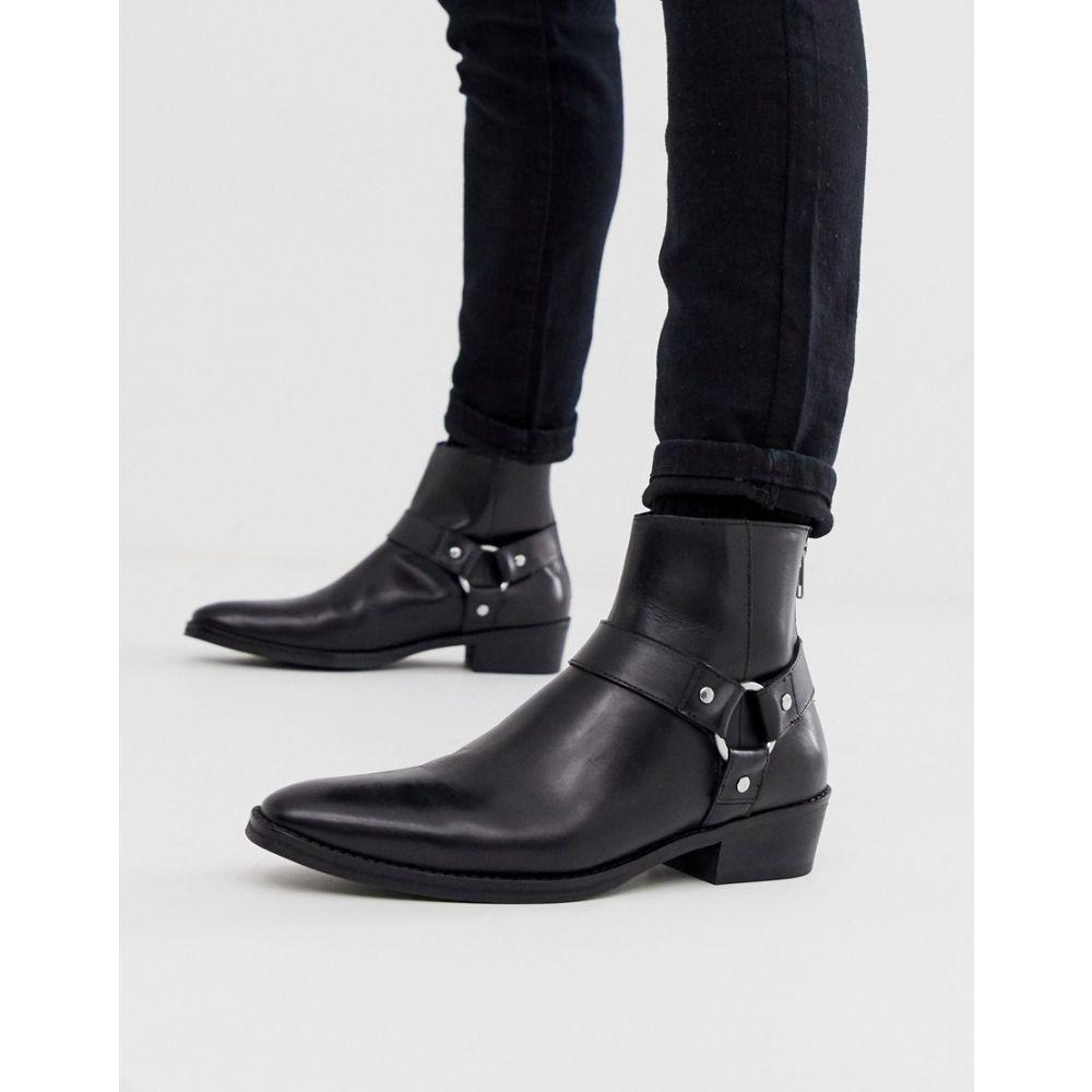 エイソス ASOS DESIGN メンズ シューズ・靴 ブーツ【cuban heel western chelsea boots in black leather with buckle detail】Black