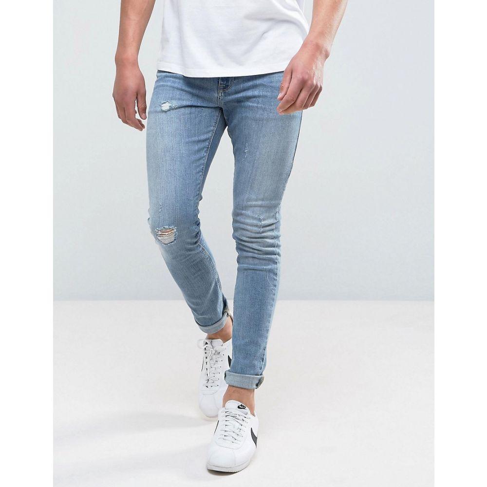 エイソス ASOS DESIGN メンズ ボトムス・パンツ ジーンズ・デニム【super skinny jeans in mid wash blue with abrasions】Mid wash blue
