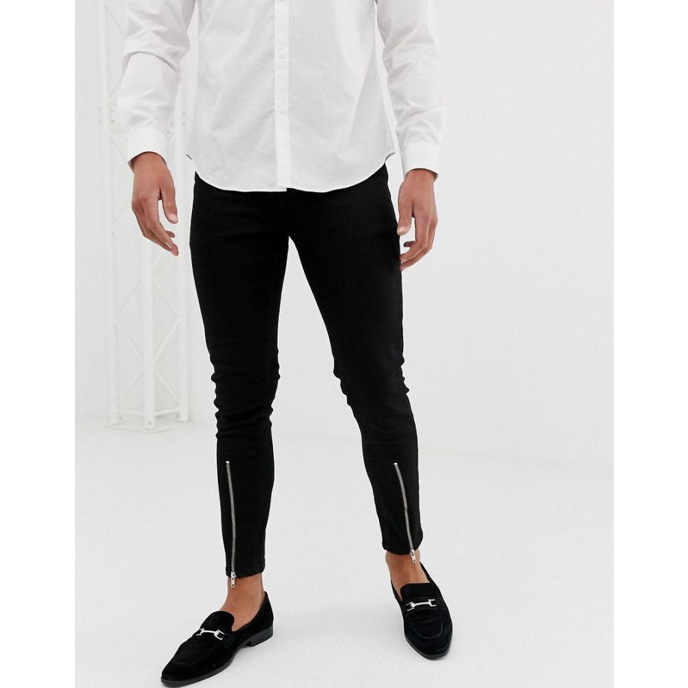 エイソス ASOS DESIGN メンズ ボトムス・パンツ ジーンズ・デニム【skinny jean with zipped hem detail in black】Black