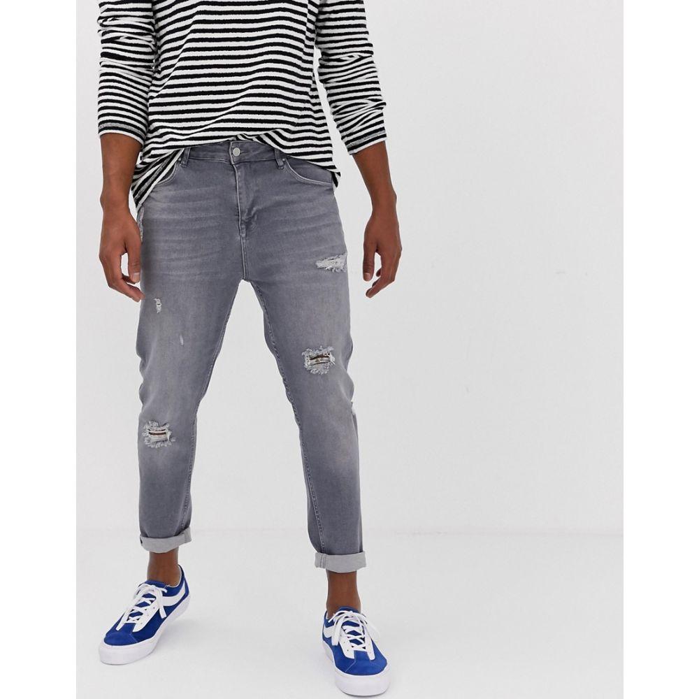 エイソス ASOS DESIGN メンズ ボトムス・パンツ ジーンズ・デニム【carrot fit jeans in washed grey with abrasions】Grey