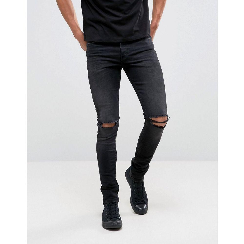 エイソス ASOS DESIGN メンズ ボトムス・パンツ ジーンズ・デニム【super skinny 12.5oz jeans with knee rips in washed black】Washed black