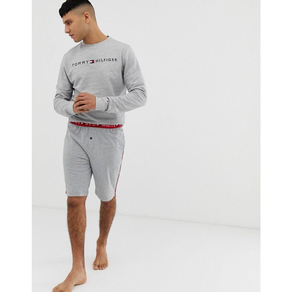 トミー ヒルフィガー Tommy Hilfiger メンズ インナー・下着 パジャマ・ボトムのみ【soft cotton shorts with contrast flag logo waistband in grey】Grey