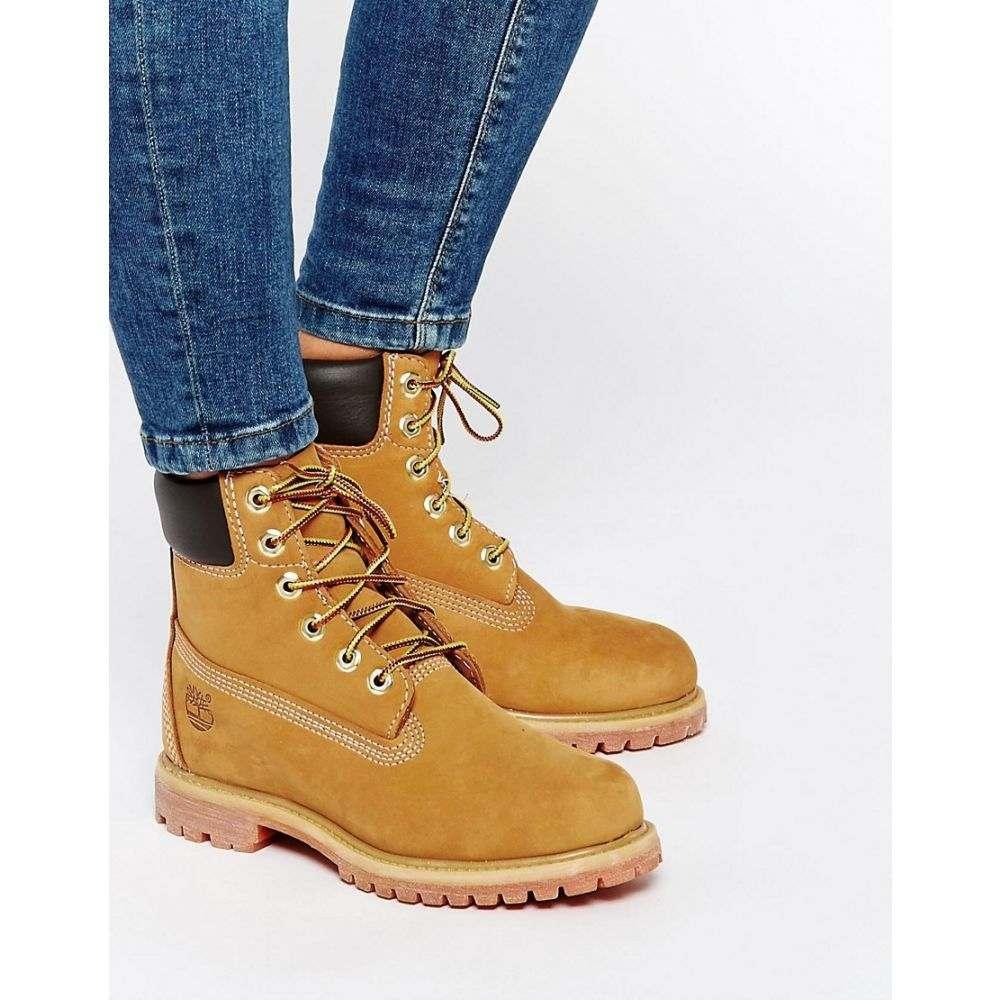 ティンバーランド レディース シューズ・靴 ブーツ【Timberland 6 Inch Premium Lace Up Beige Flat Boots】Wheat nubuck