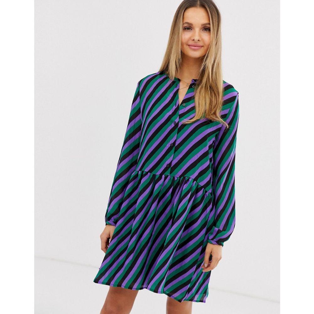 ヴィラ Vila レディース ワンピース・ドレス ワンピース【stripe drop waist shirt dress】Black w stripes