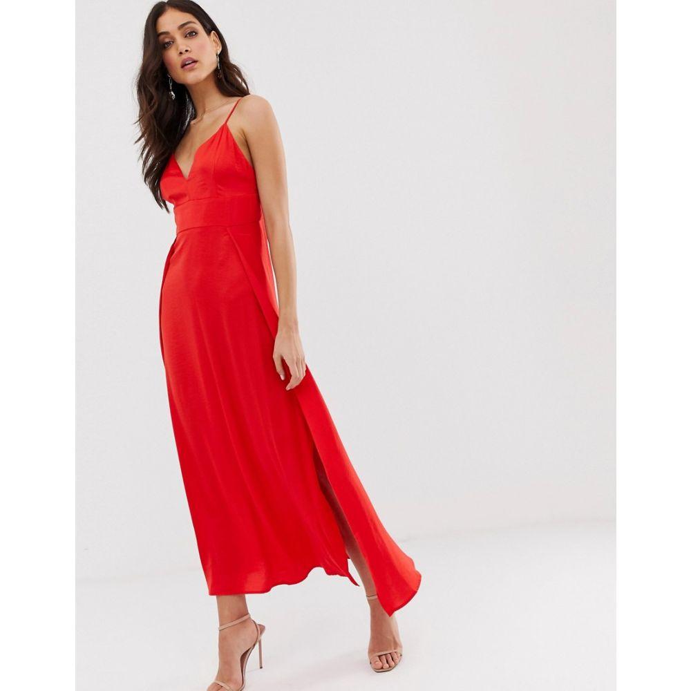 ヴィラ Vila レディース ワンピース・ドレス ワンピース【satin cami maxi dress with side splits】Red