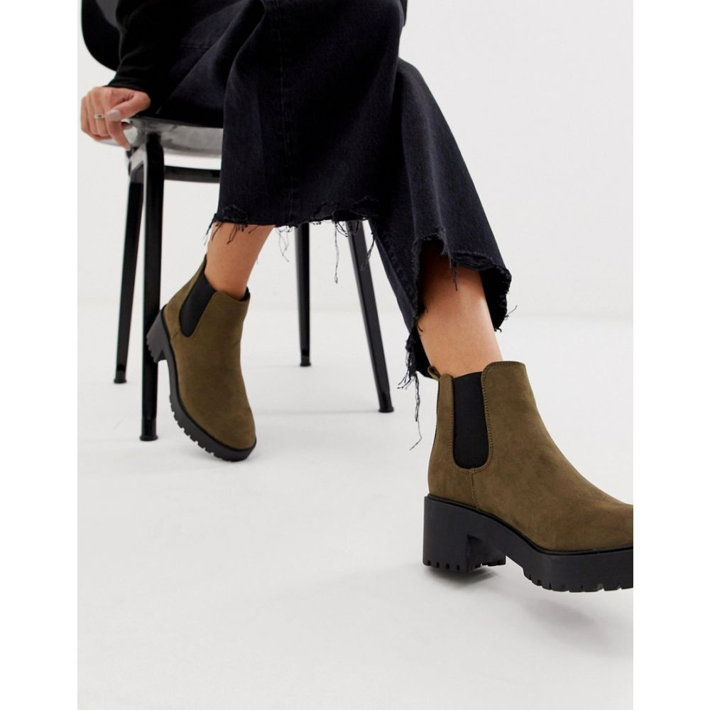 ニュールック New Look レディース シューズ・靴 ブーツ【chunky heeled chelsea boot in khaki】Dark khaki