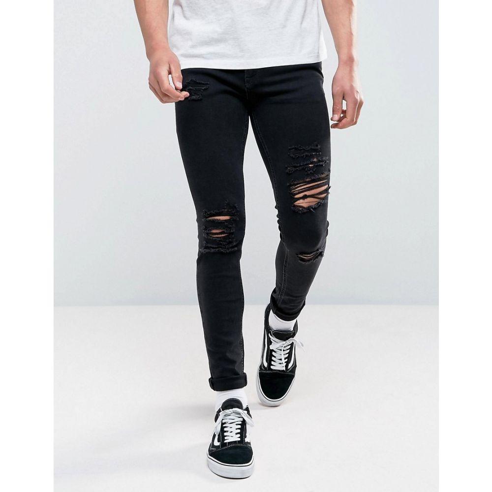 ジャック アンド ジョーンズ メンズ ボトムス・パンツ ジーンズ・デニム【Jack & Jones Intelligence Jeans In Skinny Fit Ripped Black Denim】Black