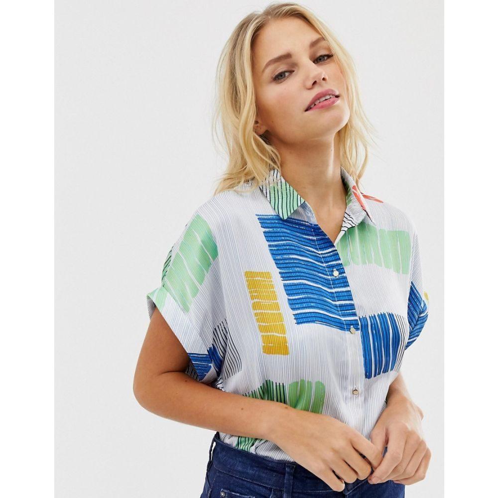 エスプリ Esprit レディース トップス ブラウス・シャツ【abstract print short sleeve blouse in off white】Multi