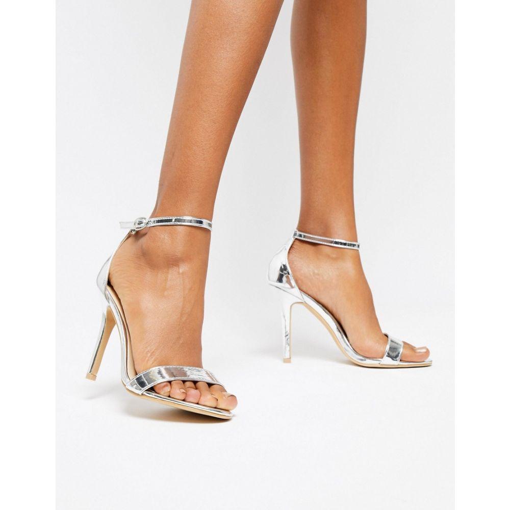 グラマラス Glamorous レディース シューズ・靴 サンダル・ミュール【Silver Mirror Barely There Heeled Sandal】Silver mirror