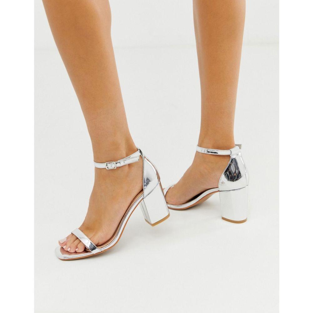グラマラス Glamorous レディース シューズ・靴 サンダル・ミュール【silver block heel sandals】Silver mirror
