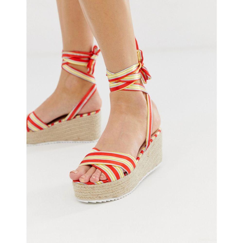 グラマラス Glamorous レディース シューズ・靴 エスパドリーユ【red striped tie up espadrille wedge sandals】Red stripe