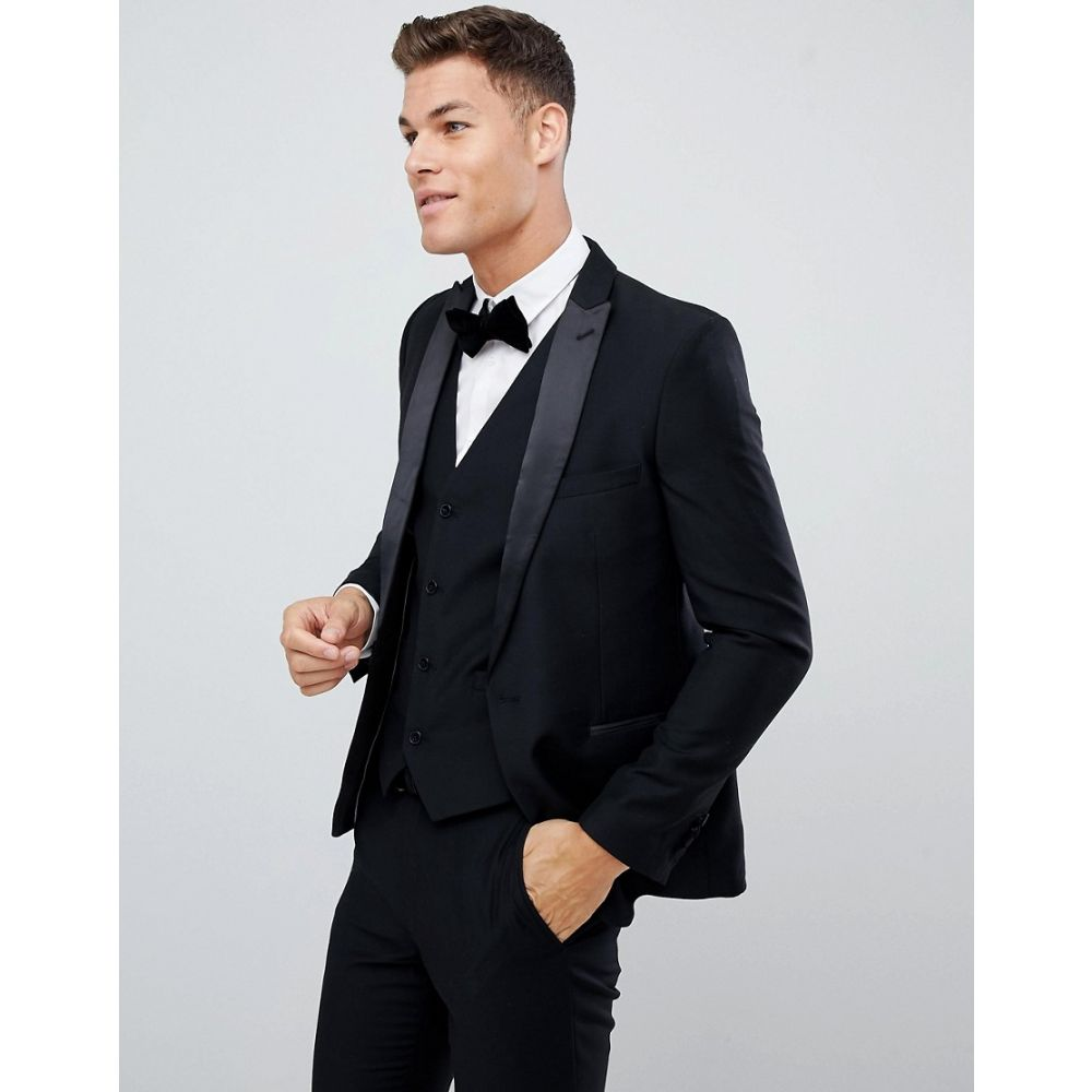 フレンチコネクション メンズ アウター スーツ・ジャケット【Slim Fit Peak Collar Tuxedo Jacket】Black