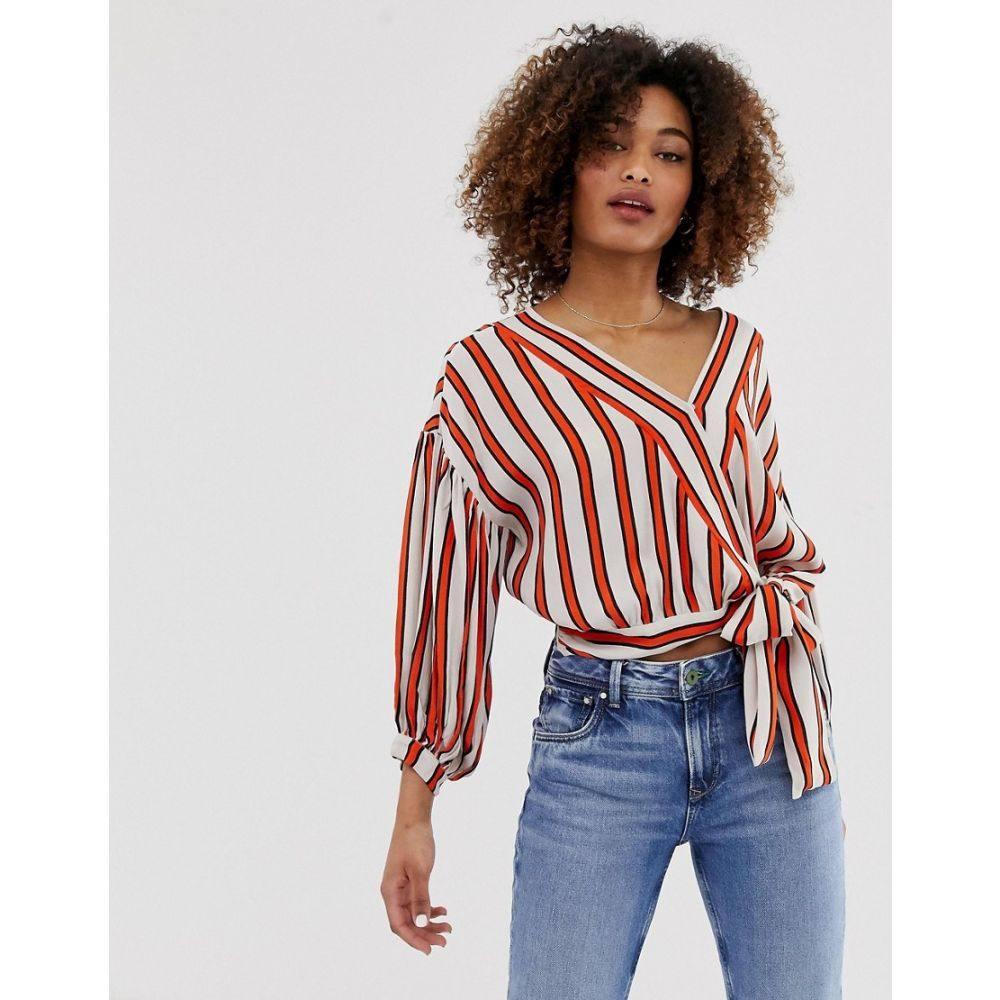 ペペジーンズ Pepe Jeans レディース トップス ブラウス・シャツ【Audrey stripe tie waist shirt】aa orange stripe