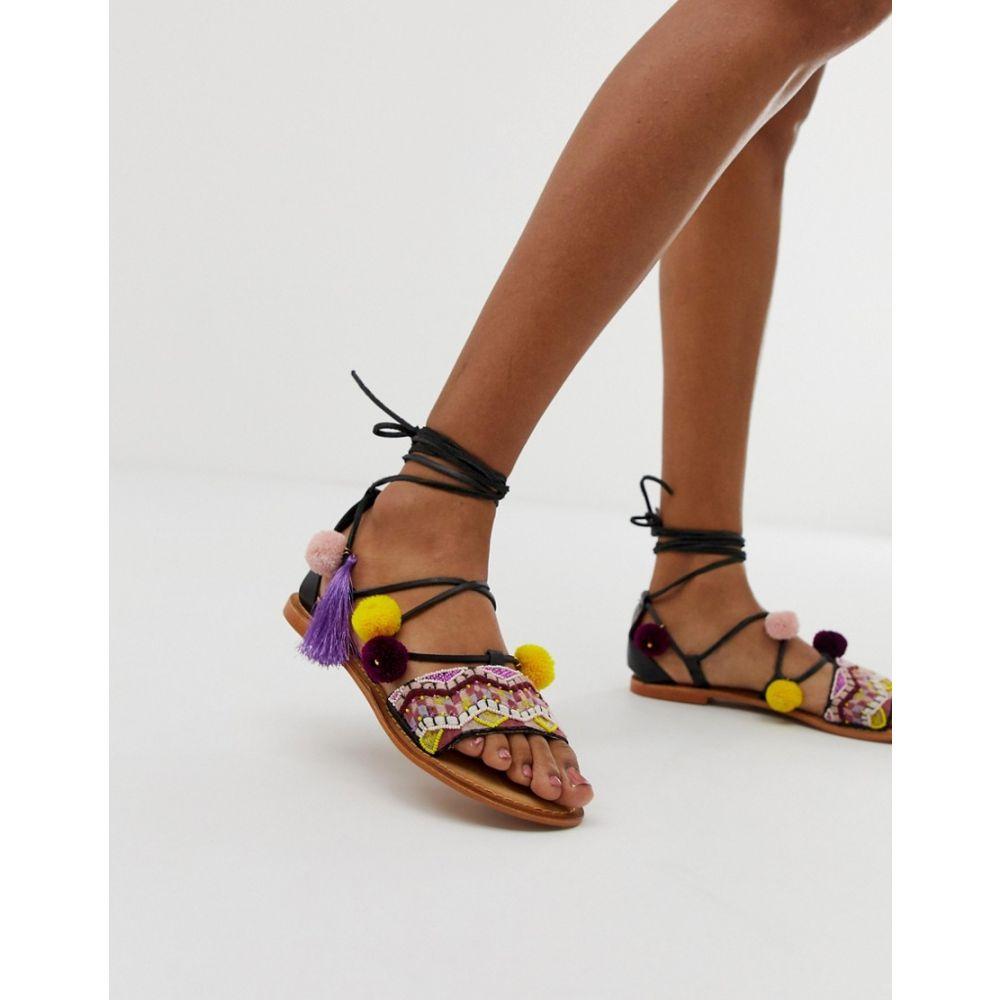 ヴェロモーダ Vero Moda レディース シューズ・靴 サンダル・ミュール【embroidered leather pompom trimmed sandals】Black