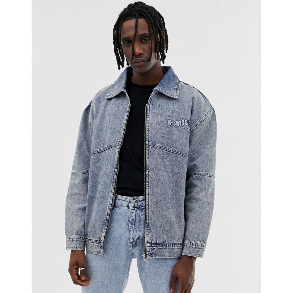 ケースイス K-Swiss メンズ アウター ジャケット【Highland denim jacket with embroidered back logo】Blue