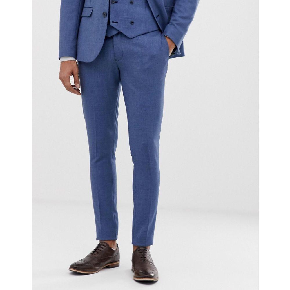 エイソス ASOS DESIGN メンズ ボトムス・パンツ スラックス【wedding super skinny suit trouser in micro texture in mid blue】Mid blue