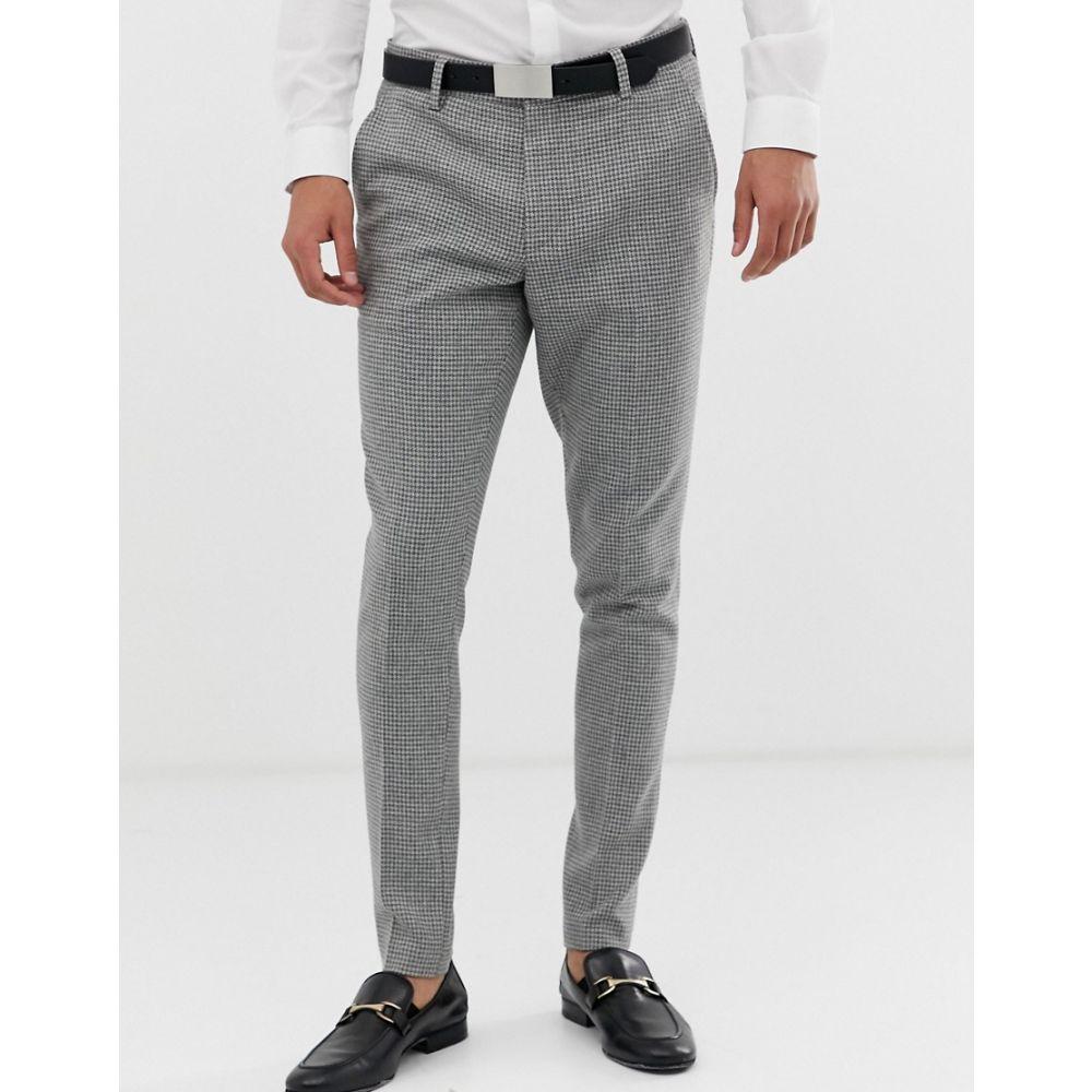 エイソス ASOS DESIGN メンズ ボトムス・パンツ スラックス【super skinny suit trousers with grey houndstooth】Grey