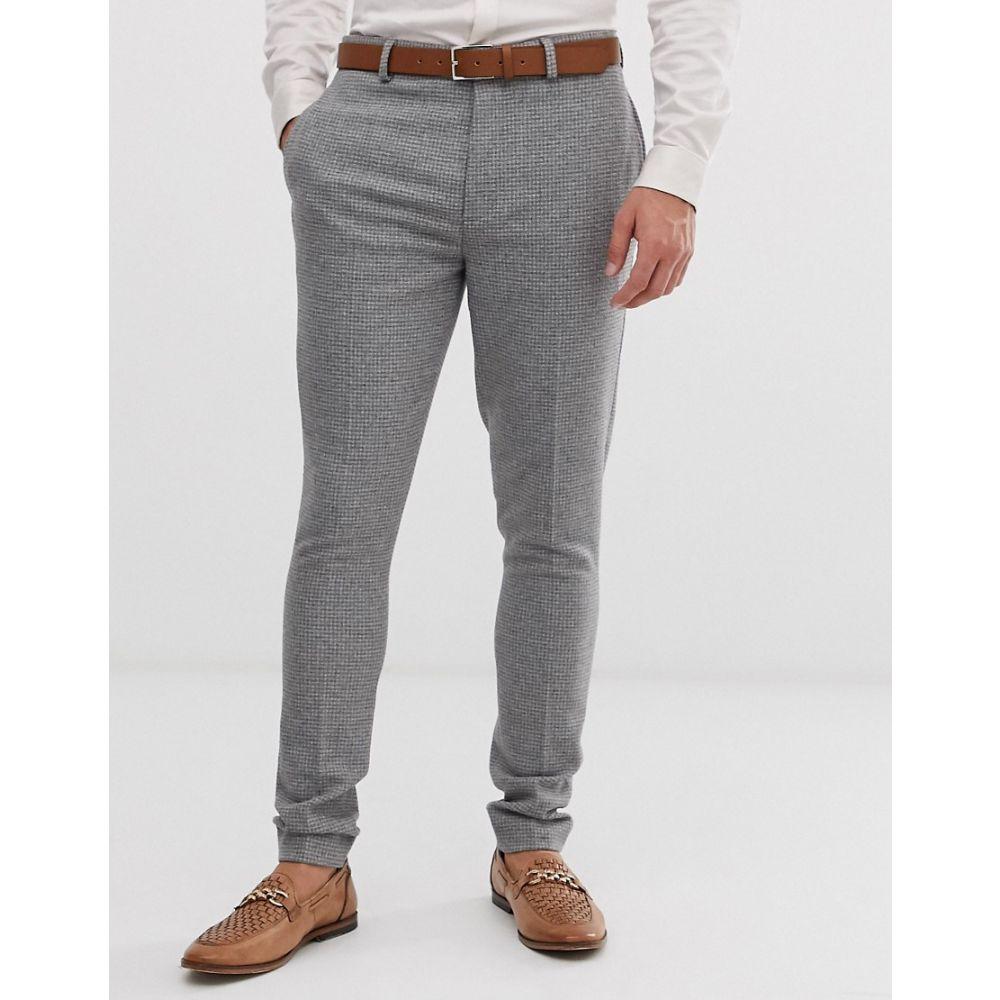 エイソス ASOS DESIGN メンズ ボトムス・パンツ スラックス【wedding super skinny suit trousers in micro grey houndstooth】Grey