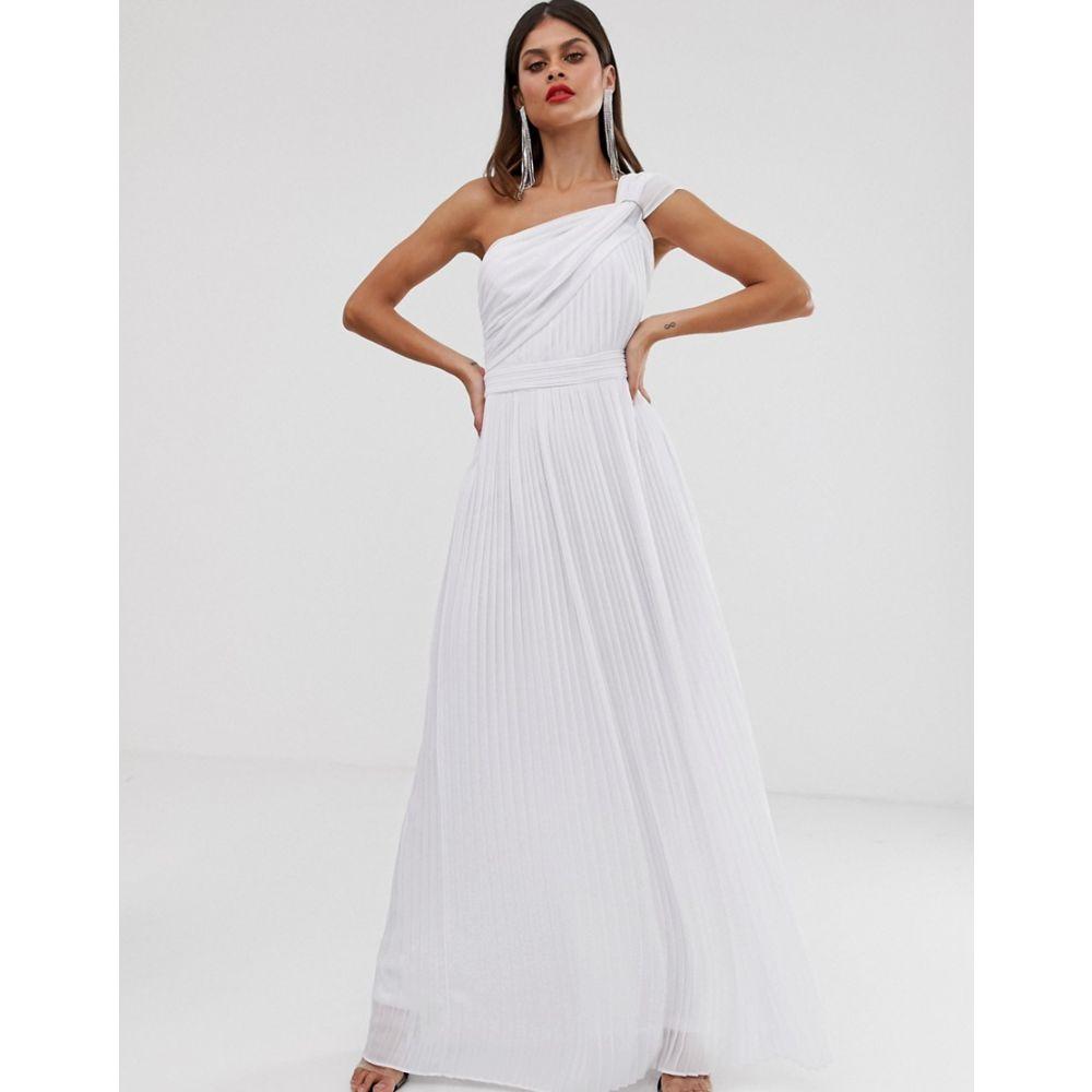 ティー エフ エヌシー TFNC レディース ワンピース・ドレス ワンピース【one shoulder pleated maxi dress in white】White