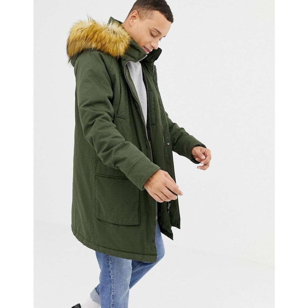 パーカ ロンドン Parka London メンズ アウター コート【long parka jacket with fur hood】Khaki