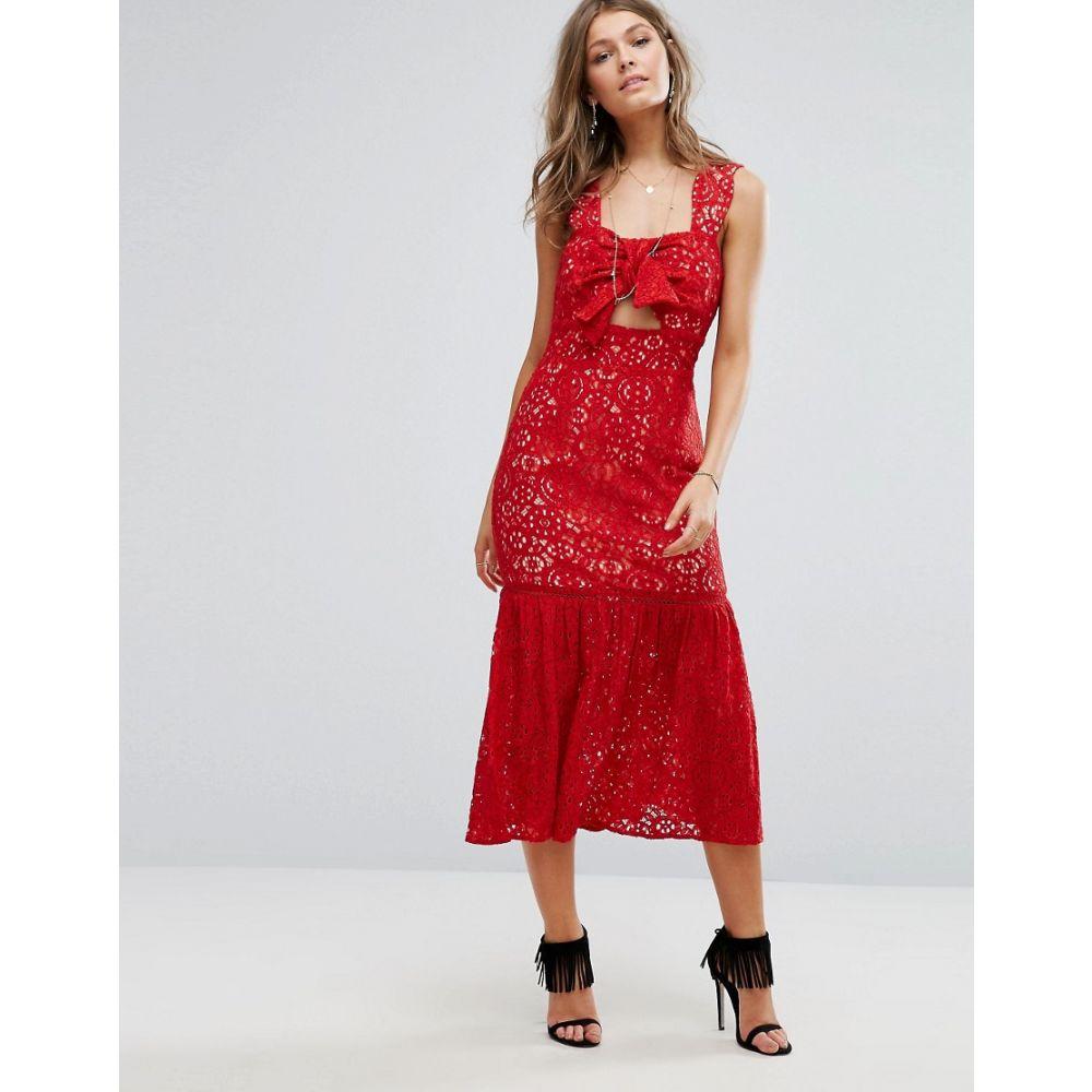 フォクシードックス Foxiedox レディース ワンピース・ドレス ワンピース【Bow Front Midi Lace Dress】Red