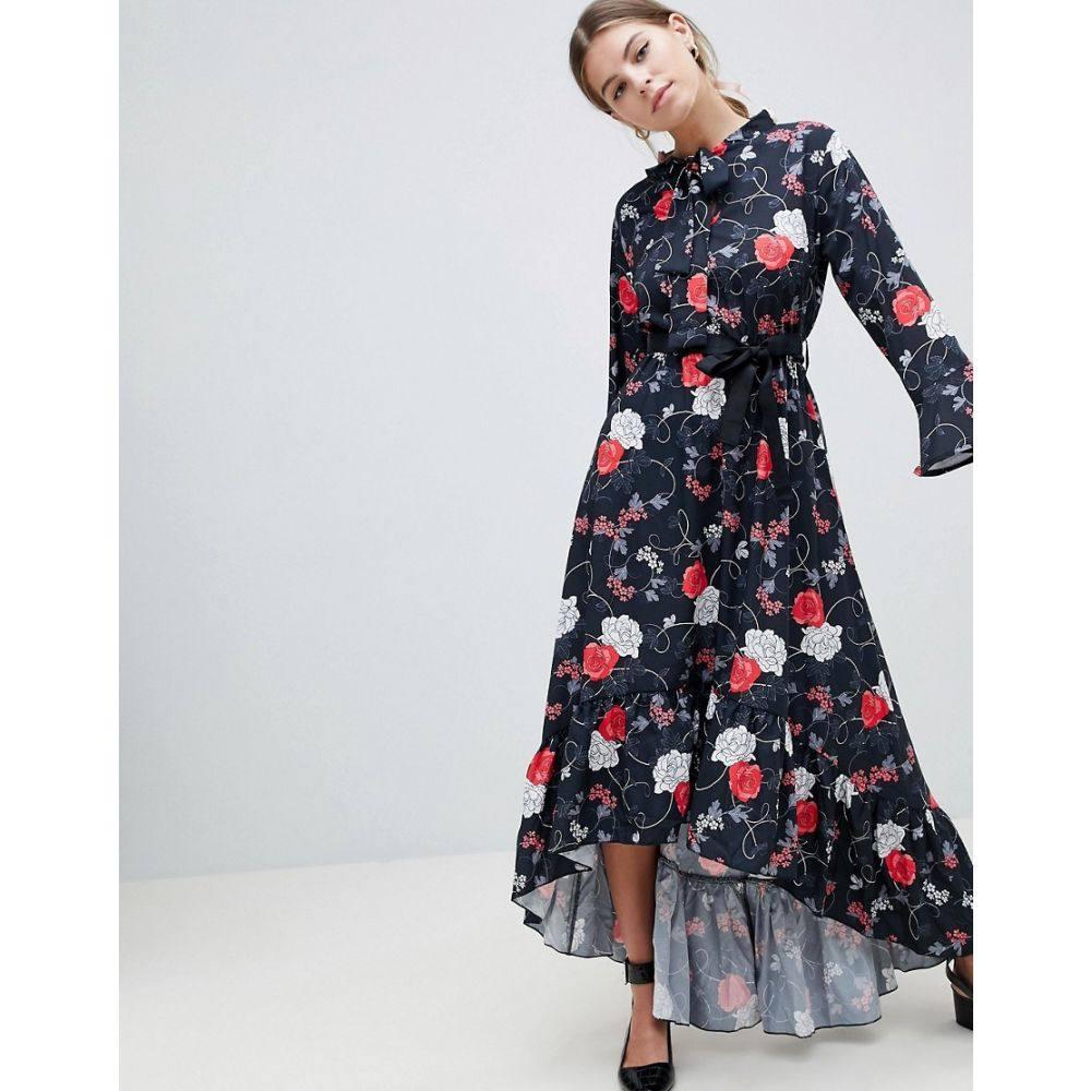 ユータムブティック レディース ワンピース・ドレス ワンピース【Floral Midi Dress With Flute Sleeve】Pink