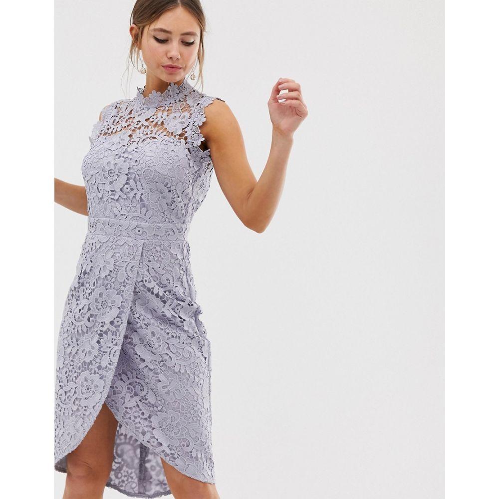 ペーパー ドールズ Paper Dolls レディース ワンピース・ドレス ワンピース【lace wrap midi pencil dress in oyster grey】Oyster grey