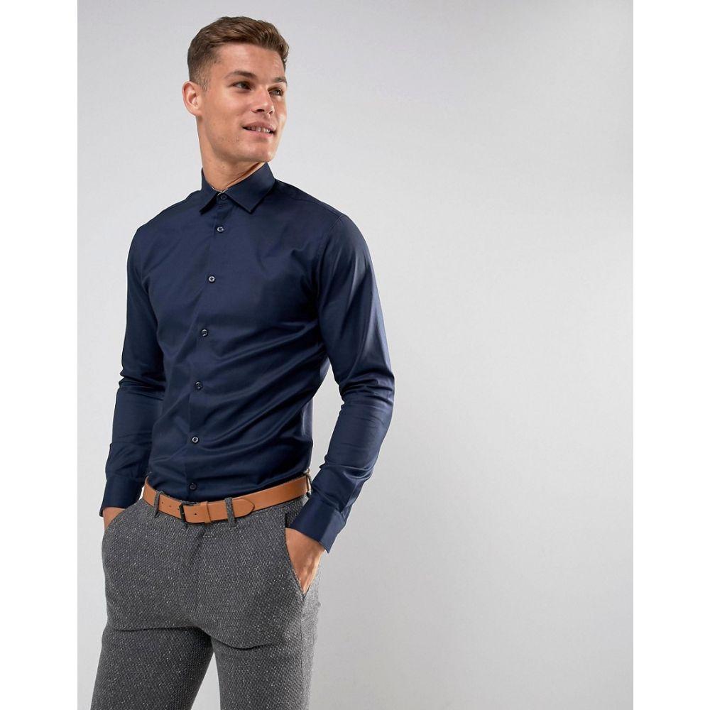 セレクテッド オム メンズ トップス【Selected Homme Slim Easy Iron Smart Shirt】Navy blazer