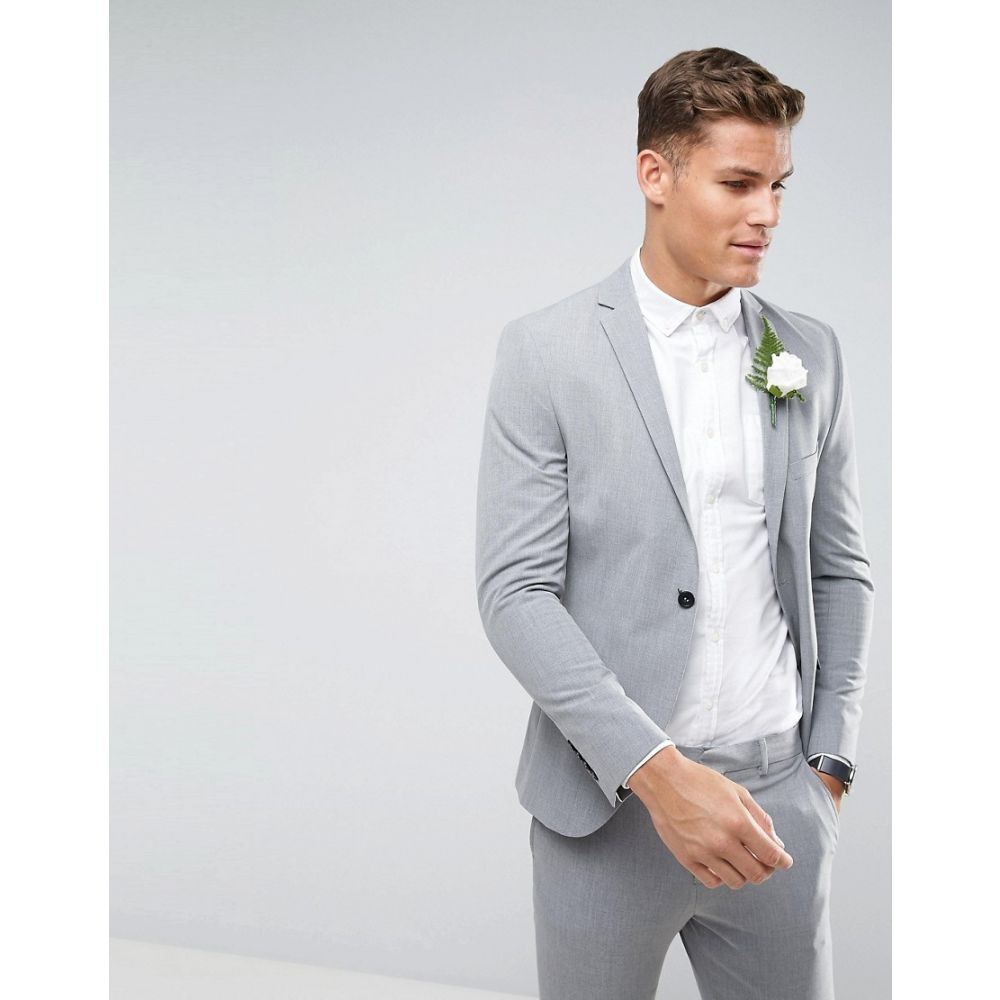 セレクテッド オム メンズ アウター スーツ・ジャケット【Selected Homme Super Skinny Wedding Suit Jacket With Stretch】Light grey melange