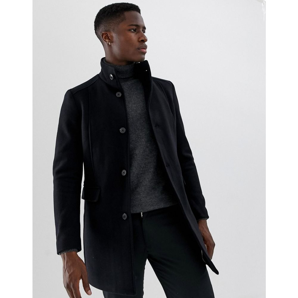 セレクテッド オム Selected Homme メンズ アウター コート【wool overcoat with funnel neck】Black