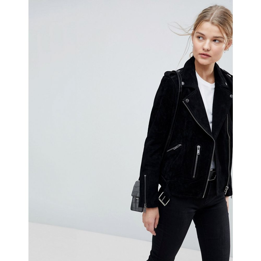 セレクテッド オム Selected レディース アウター レザージャケット【Femme suede biker jacket】Black