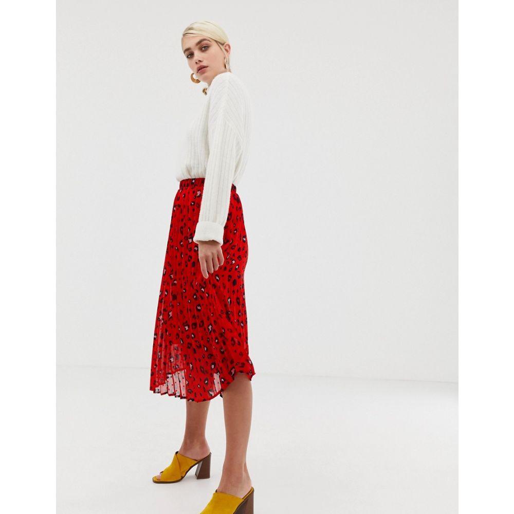 セレクテッド オム Selected レディース スカート ひざ丈スカート【Femme abstract leopard print pleated skirt】Multi