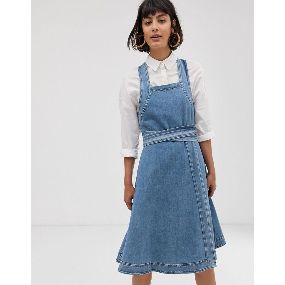 セレクテッド オム Selected レディース ワンピース・ドレス ワンピース【Femme square neck denim midi dress】Blue
