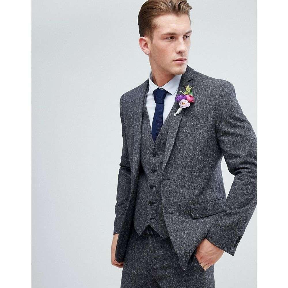 ファーラー メンズ アウター スーツ・ジャケット【Farah Winter Wedding Skinny Suit Jacket In Fleck】Charcoal