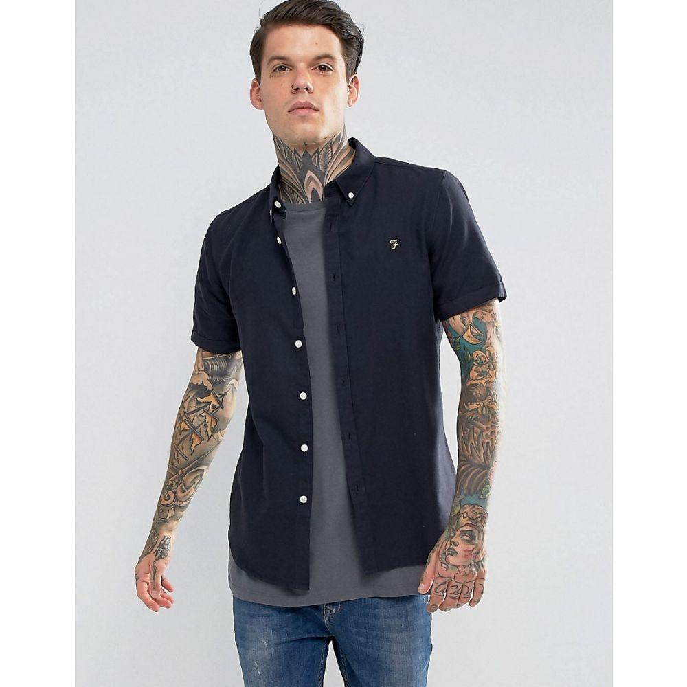 ファーラー メンズ トップス【Farah Long Sleeve Slim Shirt】Navy