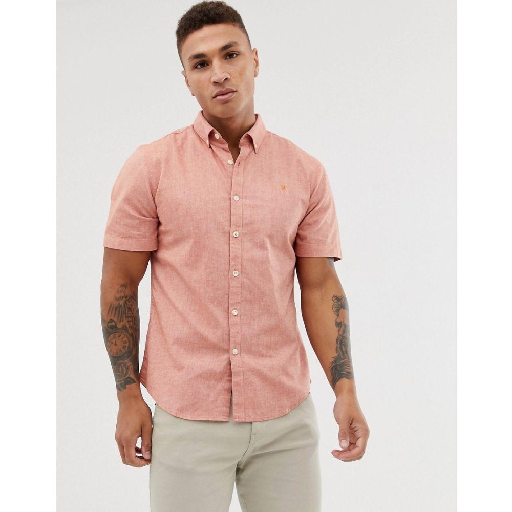 ファーラー Farah メンズ トップス 半袖シャツ【Steen slim fit short sleeve textured shirt in coral】Orange